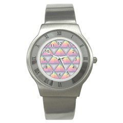 Background Colorful Triangle Stainless Steel Watch