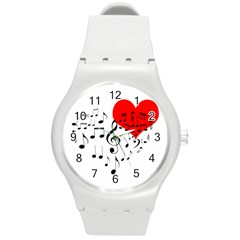 Singing Heart Round Plastic Sport Watch (m) by FunnyCow