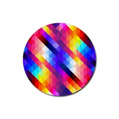 Abstract Background Colorful Pattern Rubber Coaster (round)