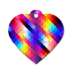 Abstract Background Colorful Pattern Dog Tag Heart (two Sides)