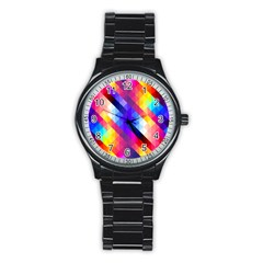 Abstract Background Colorful Pattern Stainless Steel Round Watch