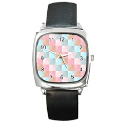 Abstract Pattern Background Pastel Square Metal Watch