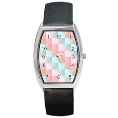 Abstract Pattern Background Pastel Barrel Style Metal Watch