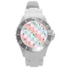 Abstract Pattern Background Pastel Round Plastic Sport Watch (l) by Nexatart