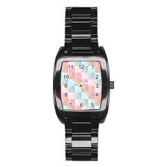 Abstract Pattern Background Pastel Stainless Steel Barrel Watch