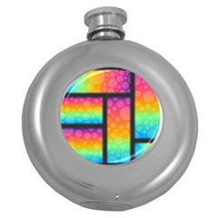 Background Colorful Abstract Round Hip Flask (5 Oz) by Nexatart