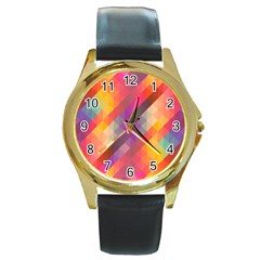 Abstract Background Colorful Pattern Round Gold Metal Watch