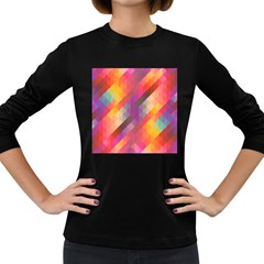 Abstract Background Colorful Pattern Women s Long Sleeve Dark T Shirts