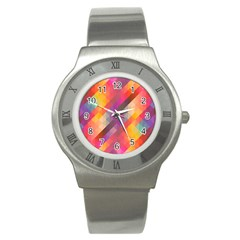Abstract Background Colorful Pattern Stainless Steel Watch
