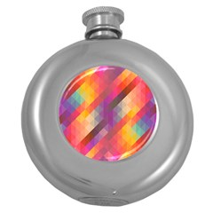 Abstract Background Colorful Pattern Round Hip Flask (5 Oz)