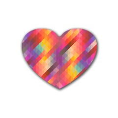 Abstract Background Colorful Pattern Rubber Coaster (heart)
