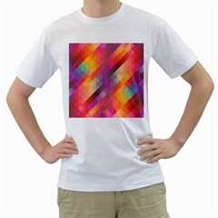 Abstract Background Colorful Pattern Men s T Shirt (white)