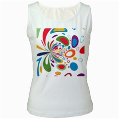 Light Circle Background Points Women s White Tank Top