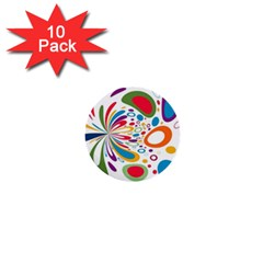 Light Circle Background Points 1  Mini Buttons (10 Pack)