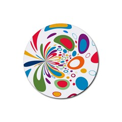 Light Circle Background Points Rubber Round Coaster (4 Pack)