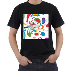 Light Circle Background Points Men s T Shirt (black)