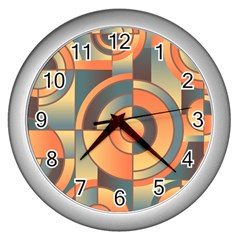Background Abstract Orange Blue Wall Clocks (silver)
