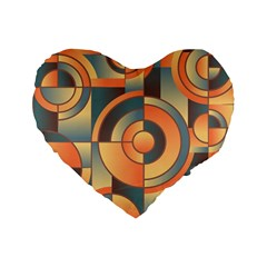 Background Abstract Orange Blue Standard 16  Premium Heart Shape Cushions