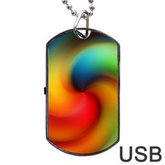 Abstract Spiral Art Creativity Dog Tag Usb Flash (one Side)