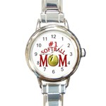 #1 SOFTBALL MOM MOTHER ROUND ITALIAN CHARM WATCH