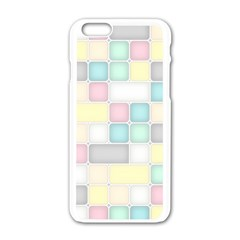 Background Abstract Pastels Square Apple Iphone 6/6s White Enamel Case