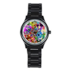 Abstract Squares Arrangement Stainless Steel Round Watch