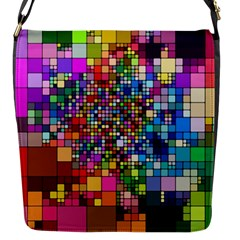 Abstract Squares Arrangement Flap Messenger Bag (s)