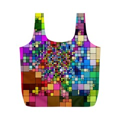 Abstract Squares Arrangement Full Print Recycle Bags (m)