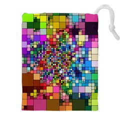 Abstract Squares Arrangement Drawstring Pouches (xxl)