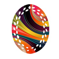 Abstract Colorful Background Wavy Oval Filigree Ornament (two Sides)