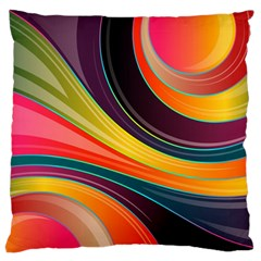 Abstract Colorful Background Wavy Large Flano Cushion Case (one Side)