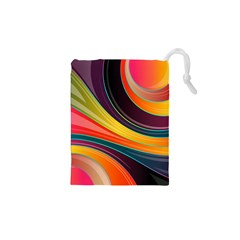 Abstract Colorful Background Wavy Drawstring Pouches (xs)