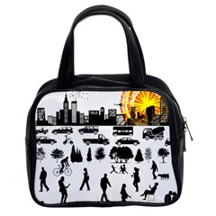 Good Morning, City Classic Handbags (2 Sides) by FunnyCow
