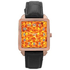 Background Triangle Circle Abstract Rose Gold Leather Watch  by Nexatart