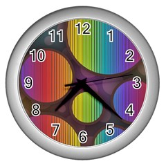 Background Colorful Abstract Circle Wall Clocks (silver)  by Nexatart
