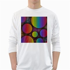 Background Colorful Abstract Circle White Long Sleeve T Shirts