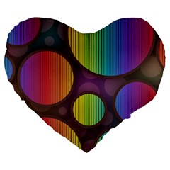 Background Colorful Abstract Circle Large 19  Premium Heart Shape Cushions