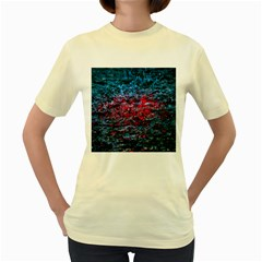 Water Color Red Women s Yellow T Shirt