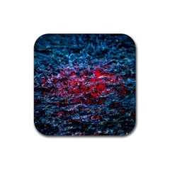 Water Color Red Rubber Square Coaster (4 Pack)