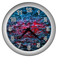 Water Color Red Wall Clocks (silver)
