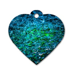Water Color Green Dog Tag Heart (one Side) by FunnyCow