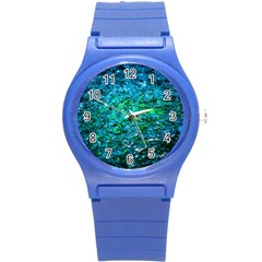 Water Color Green Round Plastic Sport Watch (s) by FunnyCow