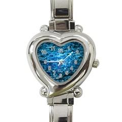 Water Color Blue Heart Italian Charm Watch