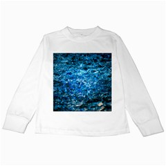Water Color Blue Kids Long Sleeve T Shirts by FunnyCow