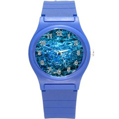 Water Color Blue Round Plastic Sport Watch (s) by FunnyCow