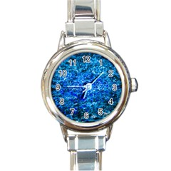 Water Color Navy Blue Round Italian Charm Watch by FunnyCow