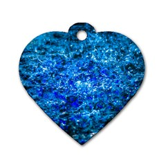 Water Color Navy Blue Dog Tag Heart (two Sides)