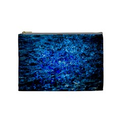 Water Color Navy Blue Cosmetic Bag (medium)
