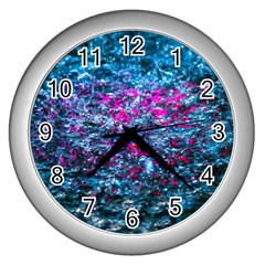 Water Color Violet Wall Clocks (silver)
