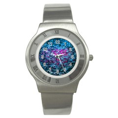 Water Color Violet Stainless Steel Watch by FunnyCow